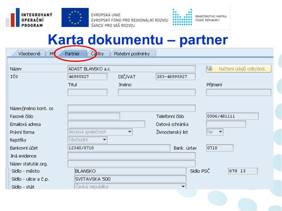Karta dokumentu – údaje MV