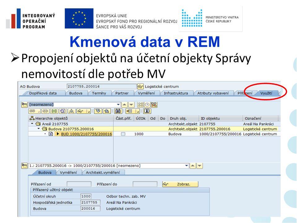 Kmenová data v REM  Zadávání vyměření objektů (fyzický popis objektů - podklad pro následné rozúčtování nákladů, včetně specifických koeficientů)