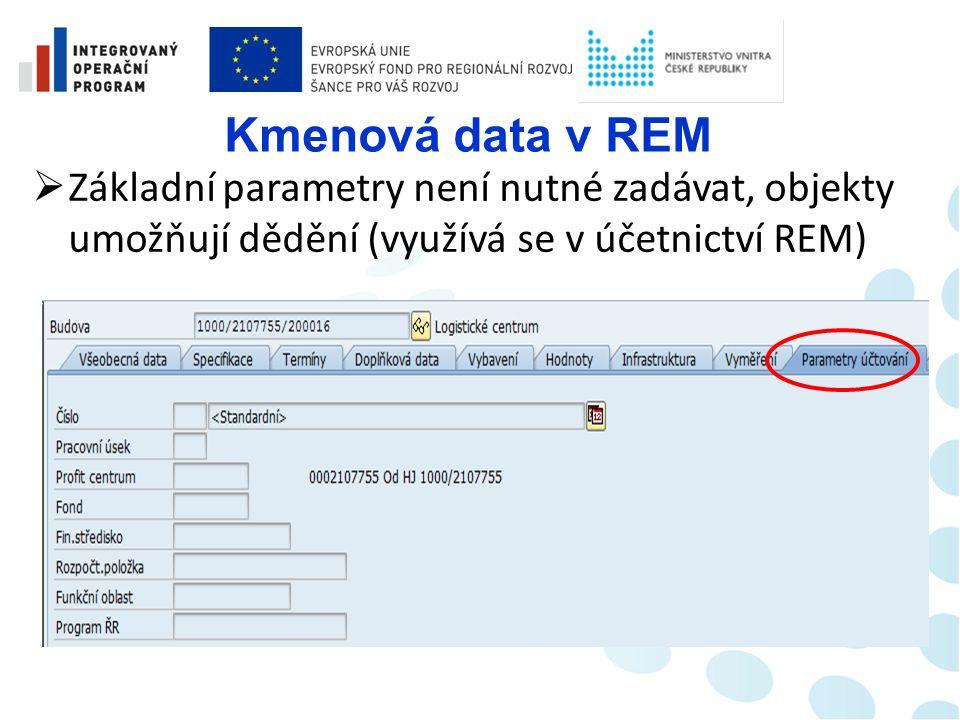 Kmenová data v REM  Propojení objektů na účetní objekty Správy nemovitostí dle potřeb MV