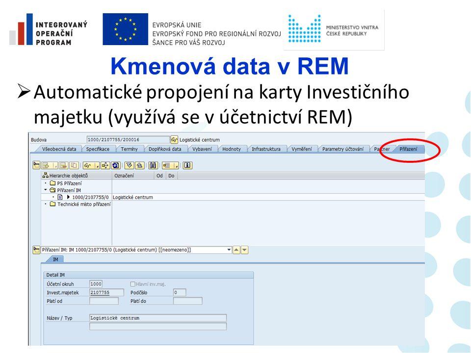 Kmenová data v REM  Základní parametry není nutné zadávat, objekty umožňují dědění (využívá se v účetnictví REM)