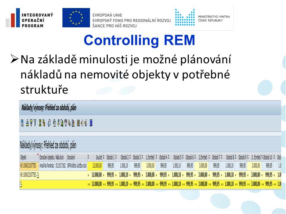 Controlling REM  Umožní provést zúčtování skutečných nákladů do modulu CO