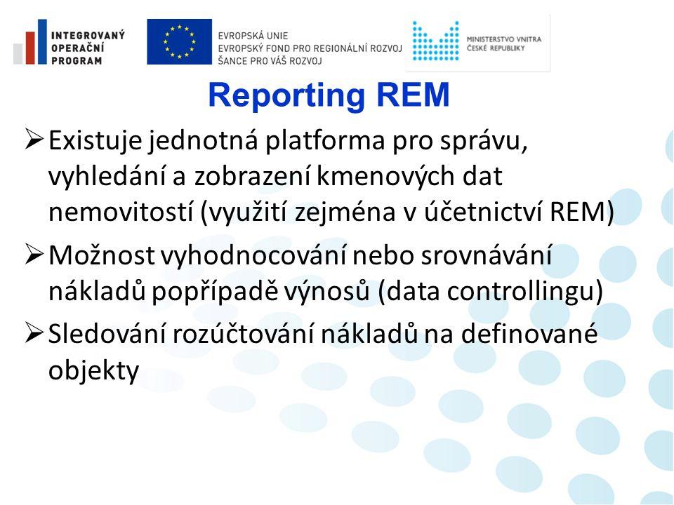 Controlling REM  Na základě minulosti je možné plánování nákladů na nemovité objekty v potřebné struktuře