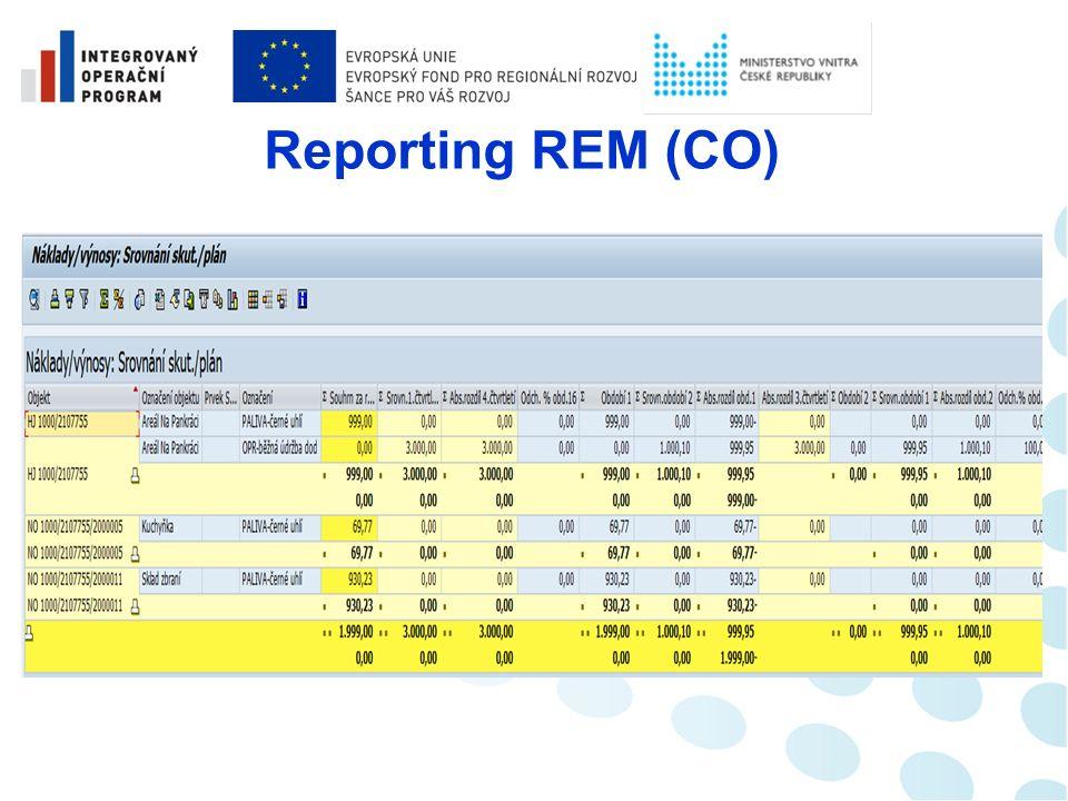 Reporting REM  Existuje jednotná platforma pro správu, vyhledání a zobrazení kmenových dat nemovitostí (využití zejména v účetnictví REM)  Možnost vyhodnocování nebo srovnávání nákladů popřípadě výnosů (data controllingu)  Sledování rozúčtování nákladů na definované objekty