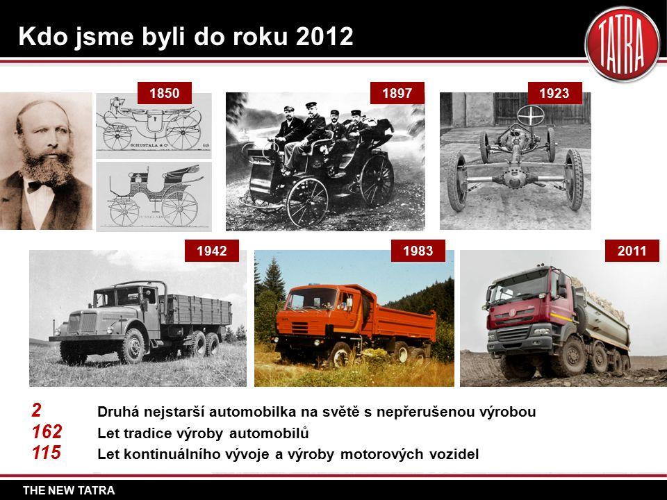 THE NEW TATRA Kdo jsme byli do roku 2012 2 Druhá nejstarší automobilka na světě s nepřerušenou výrobou 162 Let tradice výroby automobilů 115 Let kontinuálního vývoje a výroby motorových vozidel 1897 1923 1942 1983 2011 1850