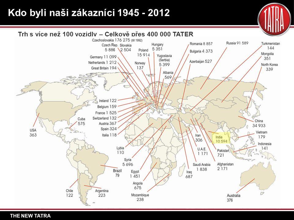 THE NEW TATRA Kdo byli naši zákazníci 1945 - 2012 Trh s více než 100 vozidly – Celkově přes 400 000 TATER