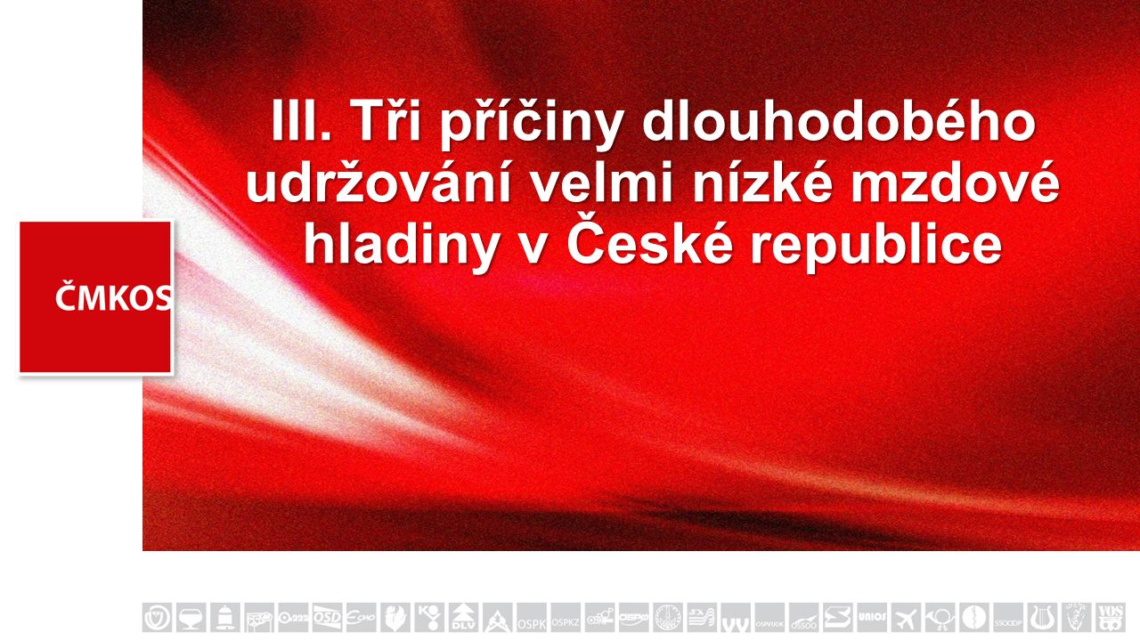 III. Tři příčiny dlouhodobého udržování velmi nízké mzdové hladiny v České republice