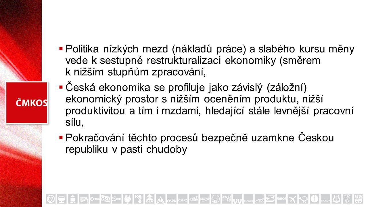  Politika nízkých mezd (nákladů práce) a slabého kursu měny vede k sestupné restrukturalizaci ekonomiky (směrem k nižším stupňům zpracování,  Česká ekonomika se profiluje jako závislý (záložní) ekonomický prostor s nižším oceněním produktu, nižší produktivitou a tím i mzdami, hledající stále levnější pracovní sílu,  Pokračování těchto procesů bezpečně uzamkne Českou republiku v pasti chudoby