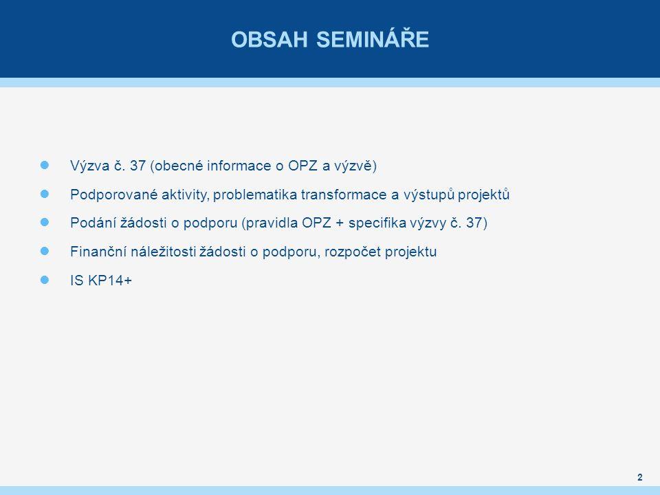 OBSAH SEMINÁŘE Výzva č.