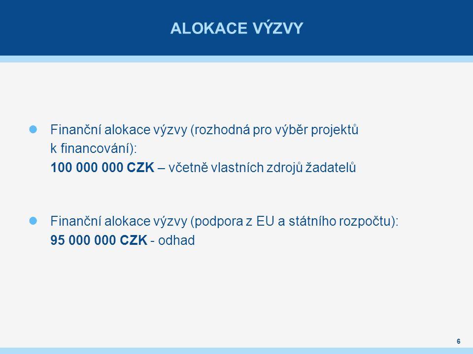 ALOKACE VÝZVY Finanční alokace výzvy (rozhodná pro výběr projektů k financování): 100 000 000 CZK – včetně vlastních zdrojů žadatelů Finanční alokace výzvy (podpora z EU a státního rozpočtu): 95 000 000 CZK - odhad 6
