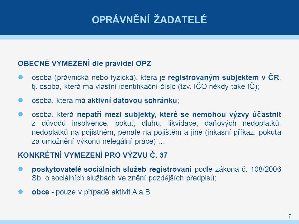 OPRÁVNĚNÍ ŽADATELÉ OBECNÉ VYMEZENÍ dle pravidel OPZ osoba (právnická nebo fyzická), která je registrovaným subjektem v ČR, tj.