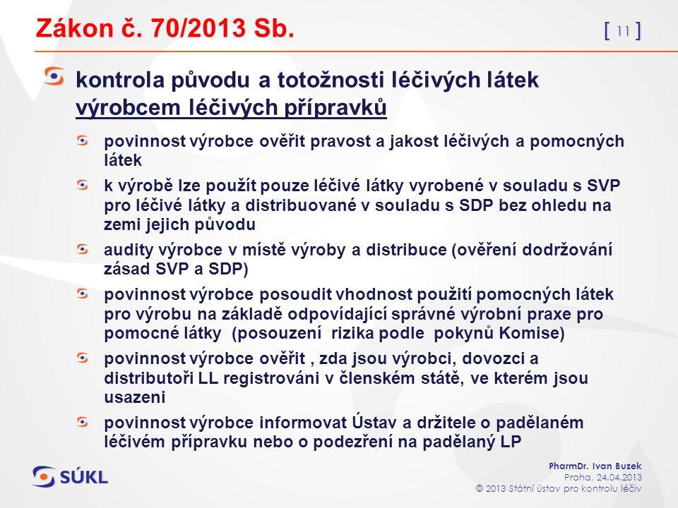 [ 11 ] PharmDr. Ivan Buzek Praha, 24.04.2013 © 2013 Státní ústav pro kontrolu léčiv Zákon č.