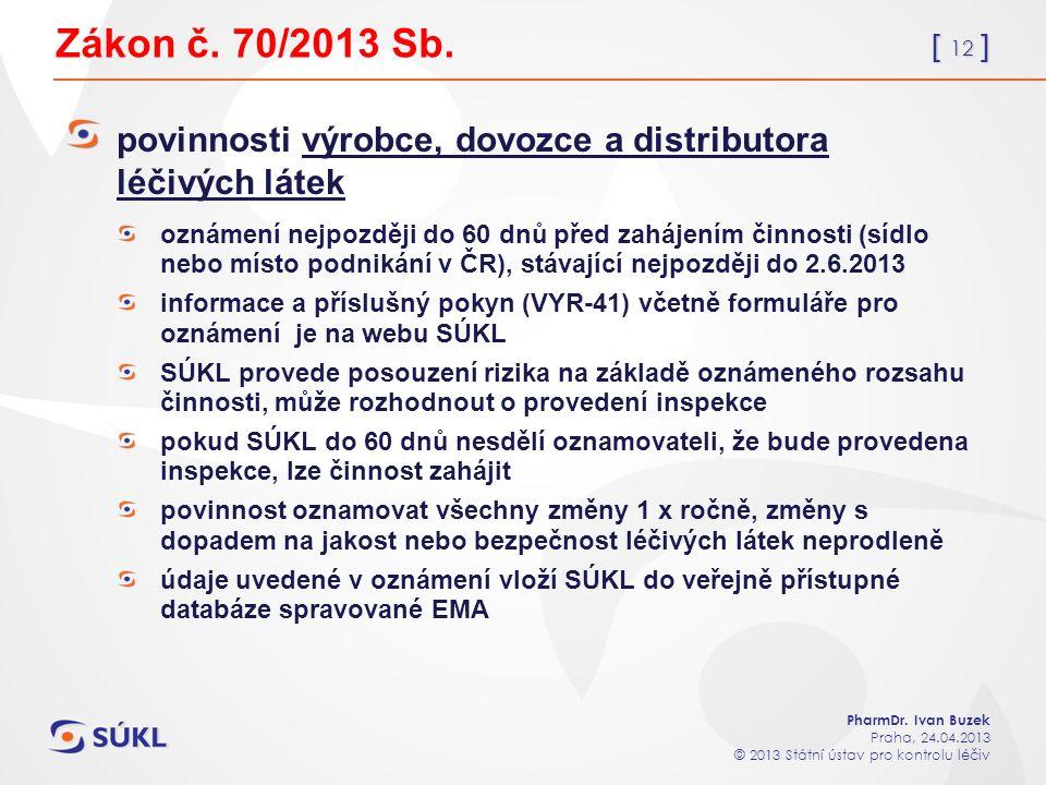 [ 12 ] PharmDr. Ivan Buzek Praha, 24.04.2013 © 2013 Státní ústav pro kontrolu léčiv Zákon č.