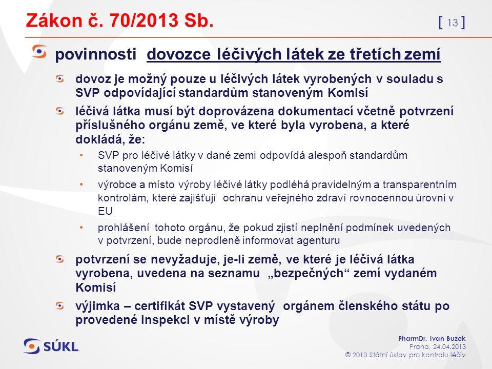 [ 13 ] PharmDr. Ivan Buzek Praha, 24.04.2013 © 2013 Státní ústav pro kontrolu léčiv Zákon č.