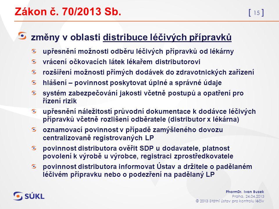 [ 15 ] PharmDr. Ivan Buzek Praha, 24.04.2013 © 2013 Státní ústav pro kontrolu léčiv Zákon č.