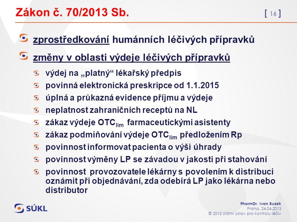 [ 16 ] PharmDr. Ivan Buzek Praha, 24.04.2013 © 2013 Státní ústav pro kontrolu léčiv Zákon č.