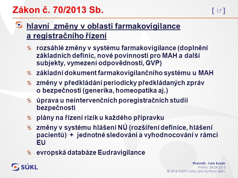 [ 17 ] PharmDr. Ivan Buzek Praha, 24.04.2013 © 2013 Státní ústav pro kontrolu léčiv Zákon č.