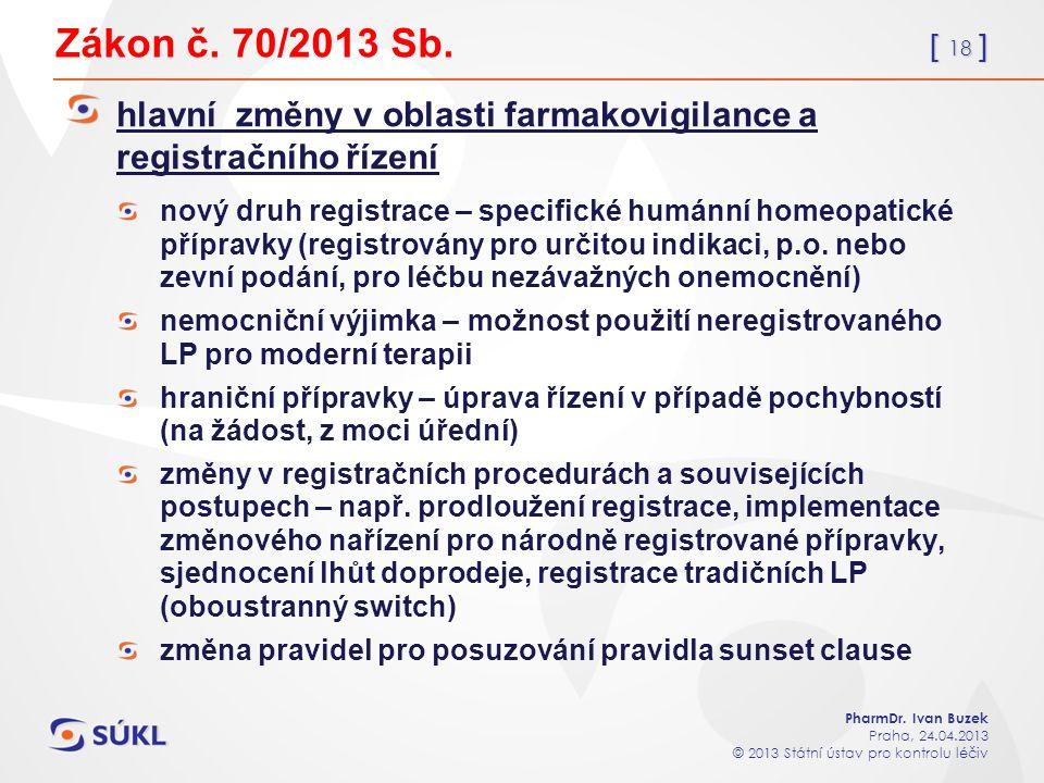 [ 18 ] PharmDr. Ivan Buzek Praha, 24.04.2013 © 2013 Státní ústav pro kontrolu léčiv Zákon č.
