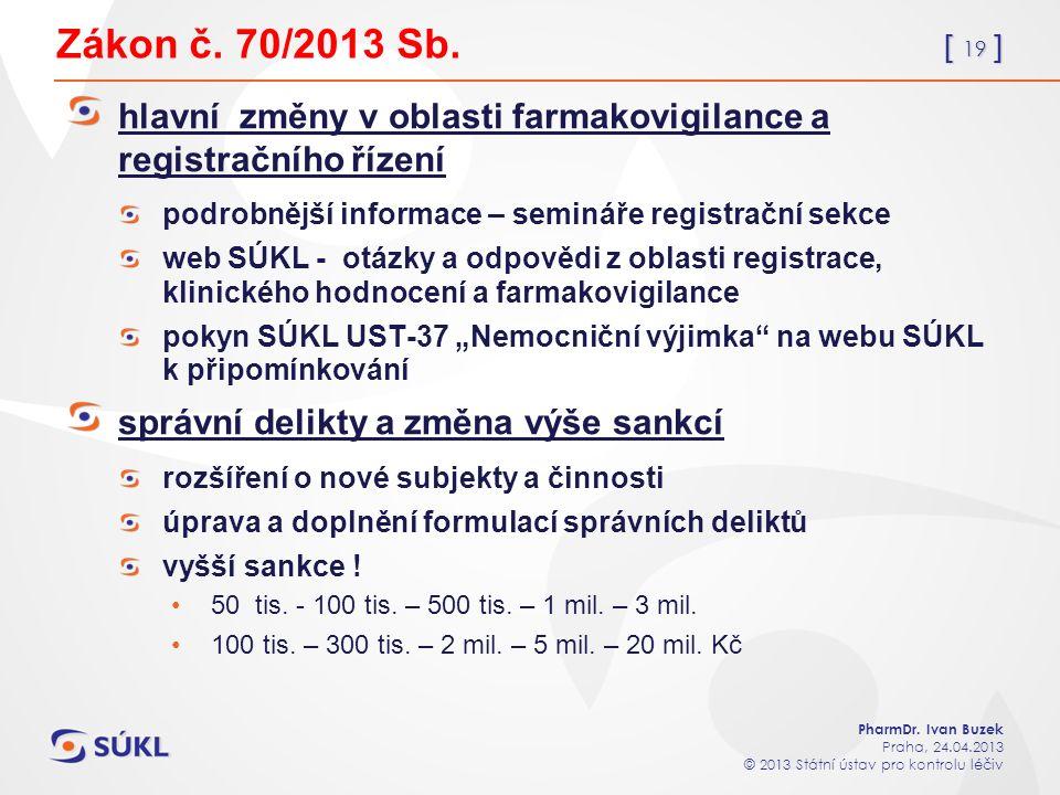 [ 19 ] PharmDr. Ivan Buzek Praha, 24.04.2013 © 2013 Státní ústav pro kontrolu léčiv Zákon č.