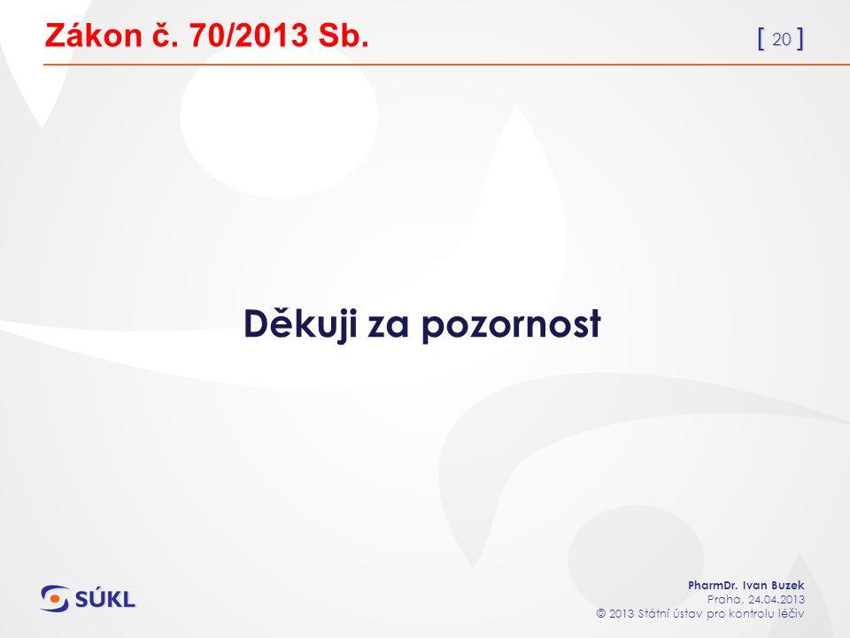 [ 20 ] PharmDr. Ivan Buzek Praha, 24.04.2013 © 2013 Státní ústav pro kontrolu léčiv Zákon č.