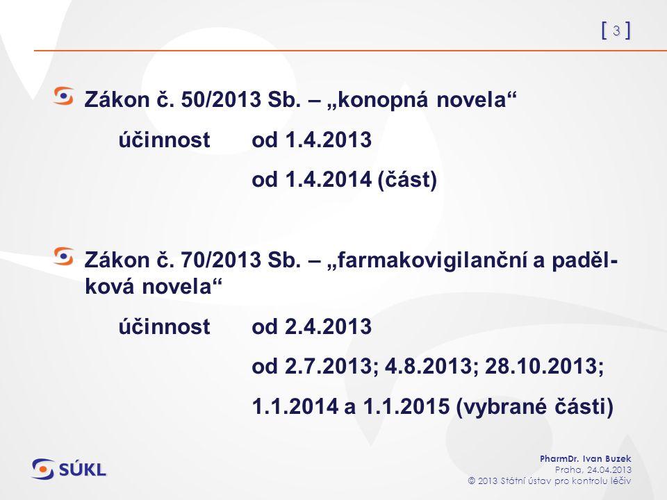 [ 3 ] PharmDr. Ivan Buzek Praha, 24.04.2013 © 2013 Státní ústav pro kontrolu léčiv Zákon č.