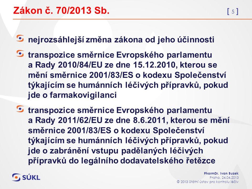 [ 5 ] PharmDr. Ivan Buzek Praha, 24.04.2013 © 2013 Státní ústav pro kontrolu léčiv Zákon č.