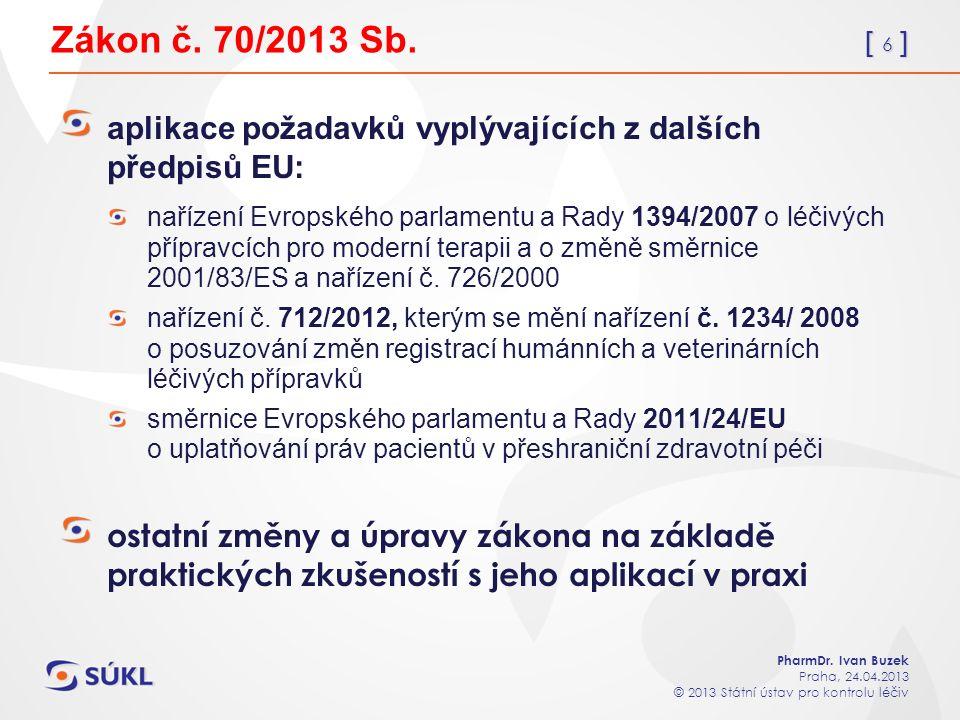 [ 6 ] PharmDr. Ivan Buzek Praha, 24.04.2013 © 2013 Státní ústav pro kontrolu léčiv Zákon č.