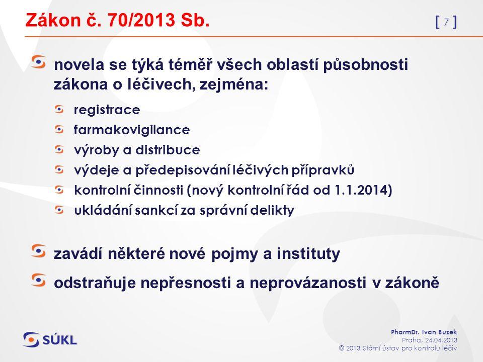 [ 18 ] PharmDr.Ivan Buzek Praha, 24.04.2013 © 2013 Státní ústav pro kontrolu léčiv Zákon č.