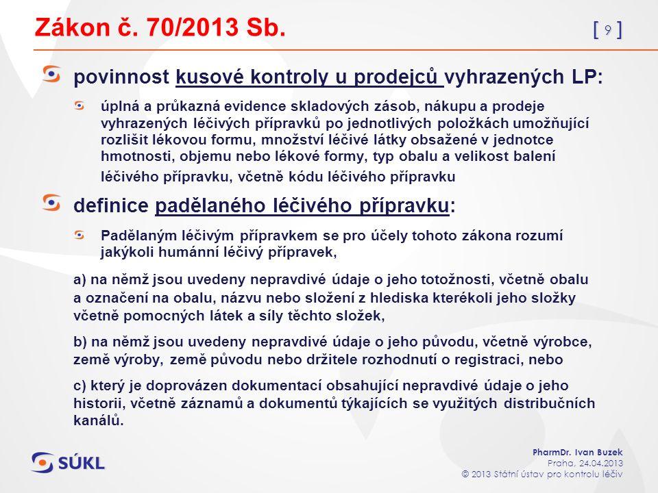 [ 9 ] PharmDr. Ivan Buzek Praha, 24.04.2013 © 2013 Státní ústav pro kontrolu léčiv Zákon č.