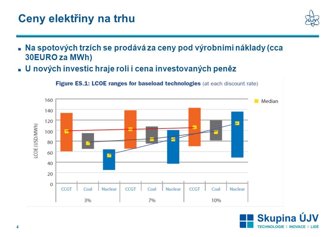 Ceny elektřiny na trhu Na spotových trzích se prodává za ceny pod výrobními náklady (cca 30EURO za MWh) U nových investic hraje roli i cena investovaných peněz 4