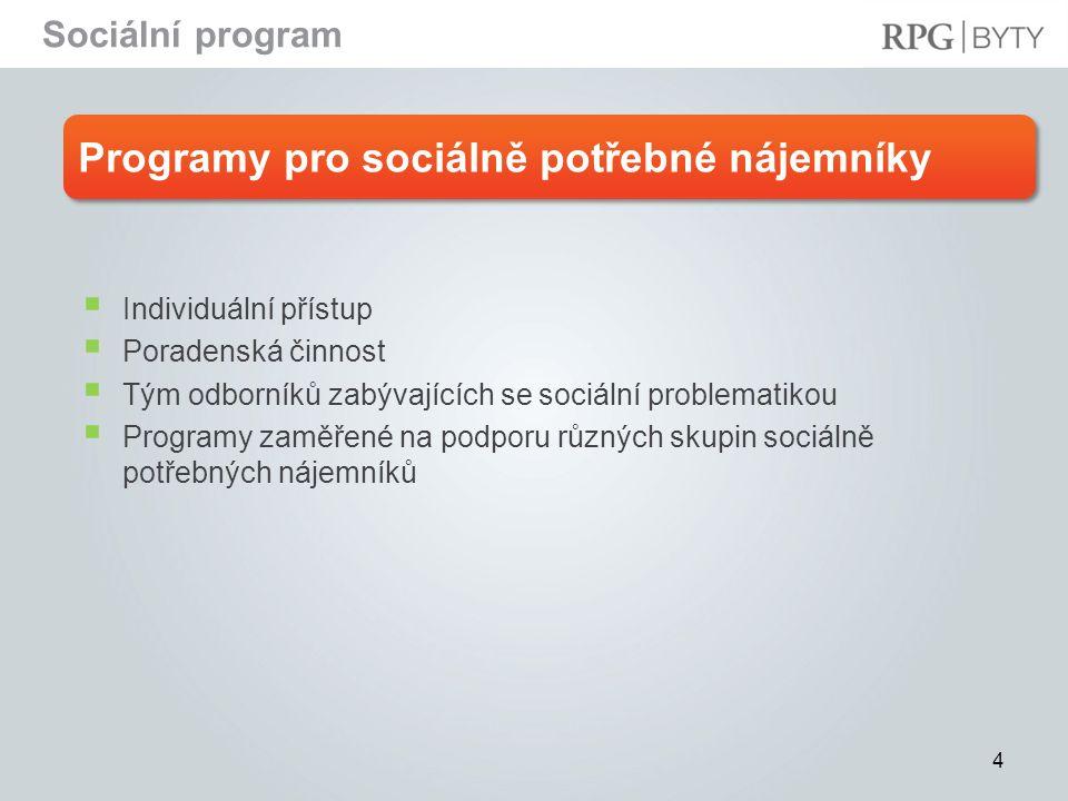 4 Programy pro sociálně potřebné nájemníky  Individuální přístup  Poradenská činnost  Tým odborníků zabývajících se sociální problematikou  Progra