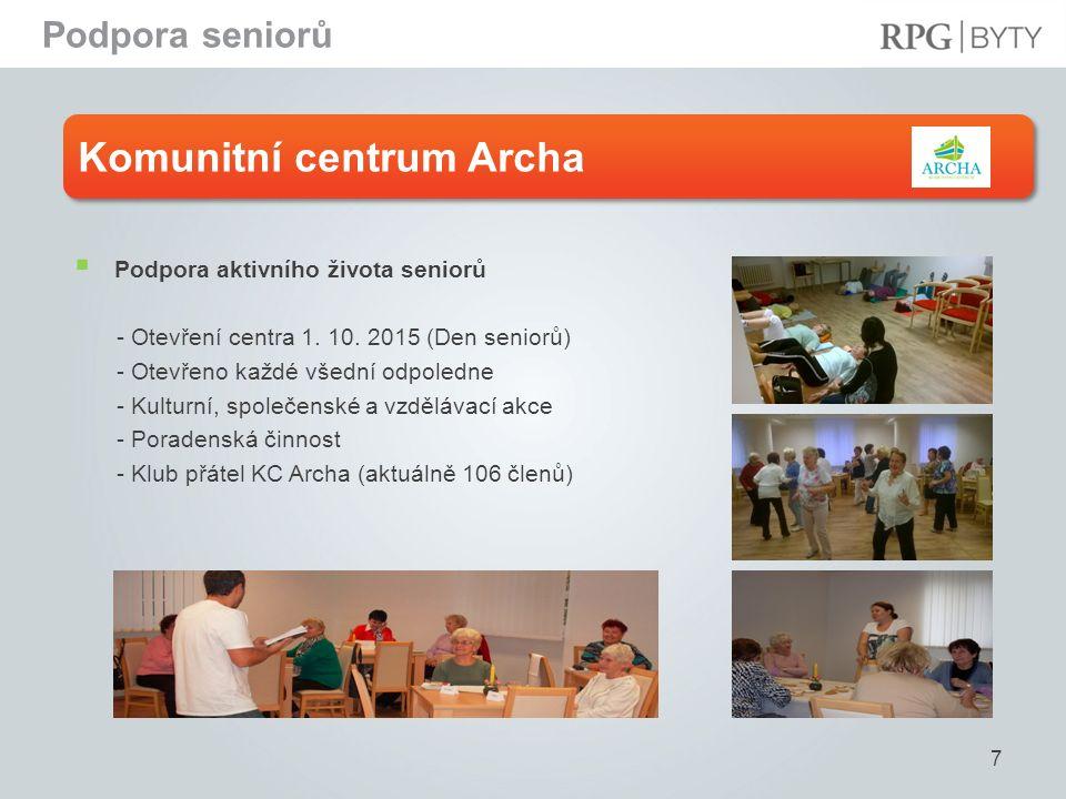 Komunitní centrum Archa 7  Podpora aktivního života seniorů - Otevření centra 1. 10. 2015 (Den seniorů) - Otevřeno každé všední odpoledne - Kulturní,