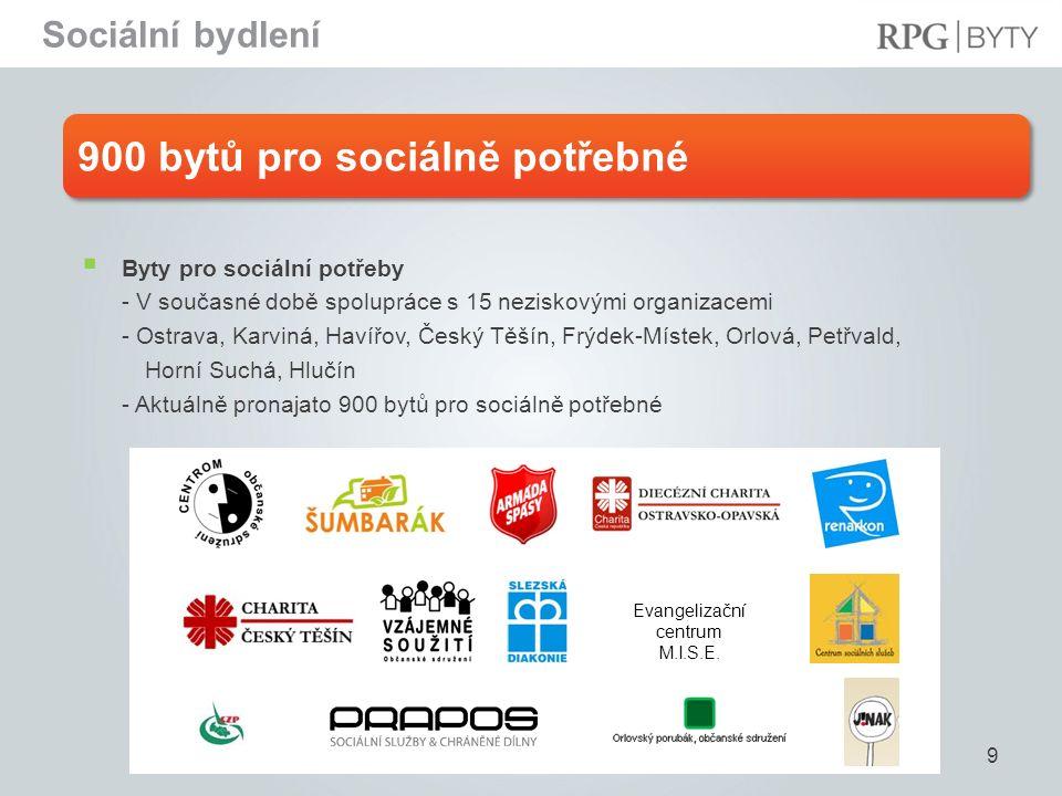 900 bytů pro sociálně potřebné 9  Byty pro sociální potřeby - V současné době spolupráce s 15 neziskovými organizacemi - Ostrava, Karviná, Havířov, Č
