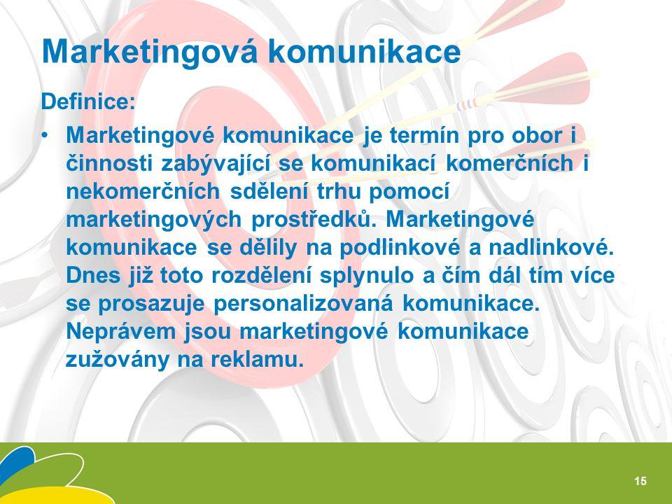 Definice: Marketingové komunikace je termín pro obor i činnosti zabývající se komunikací komerčních i nekomerčních sdělení trhu pomocí marketingových prostředků.