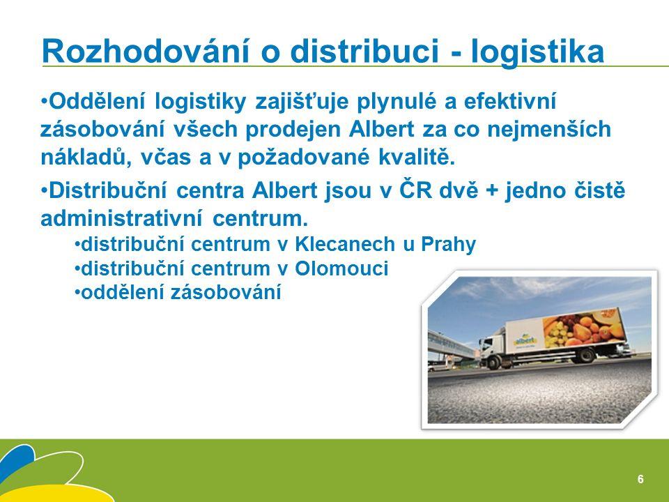 Oddělení logistiky zajišťuje plynulé a efektivní zásobování všech prodejen Albert za co nejmenších nákladů, včas a v požadované kvalitě.