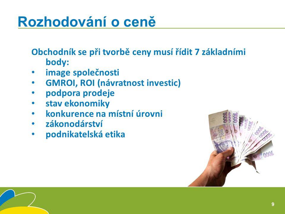 Obchodník se při tvorbě ceny musí řídit 7 základními body: image společnosti GMROI, ROI (návratnost investic) podpora prodeje stav ekonomiky konkurence na místní úrovni zákonodárství podnikatelská etika Rozhodování o ceně 9