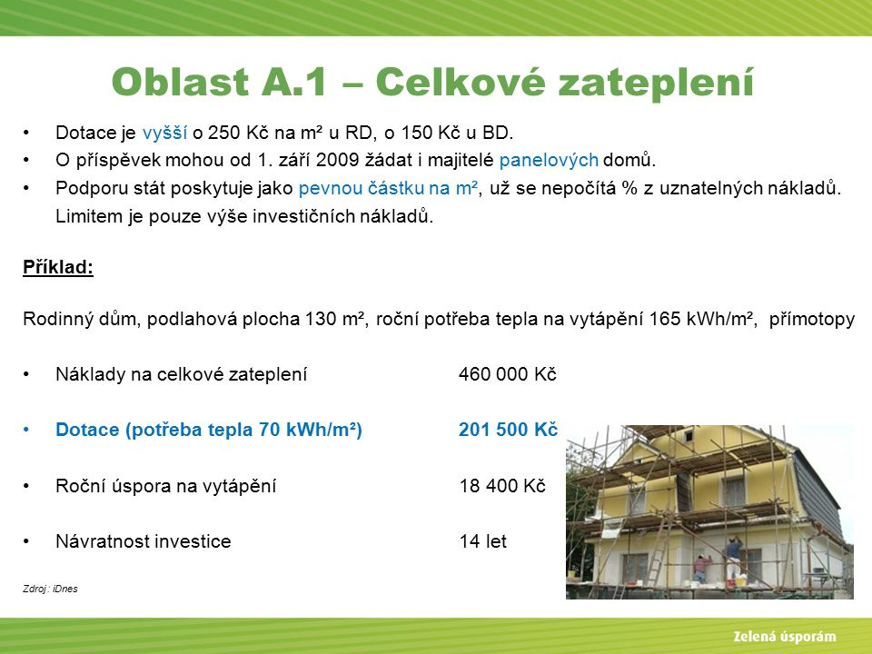 Oblast A.1 – Celkové zateplení Dotace je vyšší o 250 Kč na m² u RD, o 150 Kč u BD.