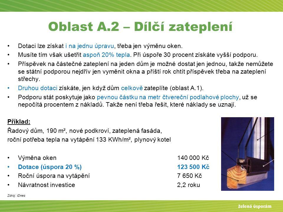 Oblast A.2 – Dílčí zateplení Dotaci lze získat i na jednu úpravu, třeba jen výměnu oken.