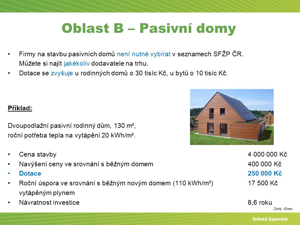 Oblast B – Pasivní domy Firmy na stavbu pasivních domů není nutné vybírat v seznamech SFŽP ČR.