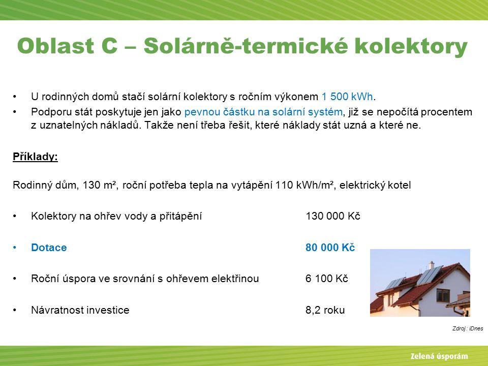 Oblast C – Solárně-termické kolektory U rodinných domů stačí solární kolektory s ročním výkonem 1 500 kWh.