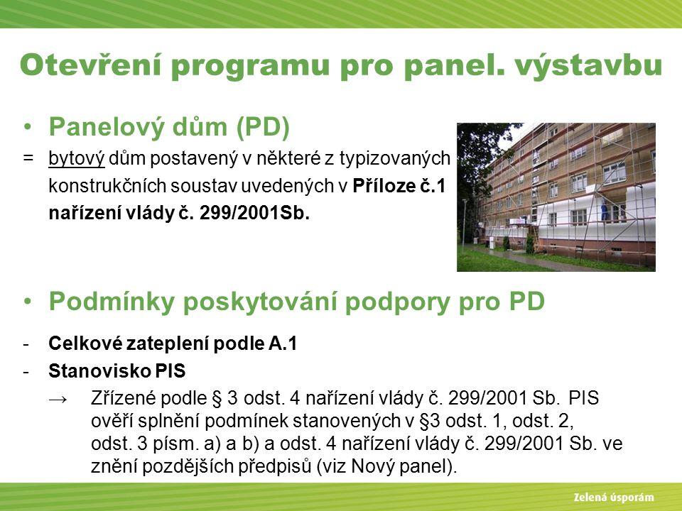 Otevření programu pro panel.