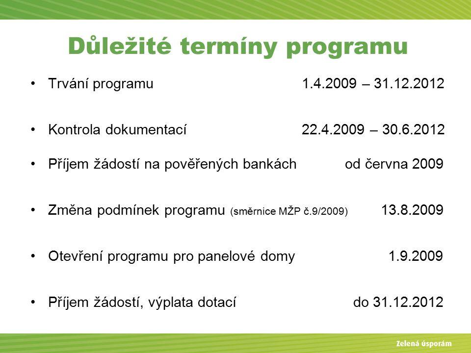 Důležité termíny programu Trvání programu 1.4.2009 – 31.12.2012 Kontrola dokumentací 22.4.2009 – 30.6.2012 Příjem žádostí na pověřených bankách od června 2009 Změna podmínek programu (směrnice MŽP č.9/2009) 13.8.2009 Otevření programu pro panelové domy 1.9.2009 Příjem žádostí, výplata dotací do 31.12.2012