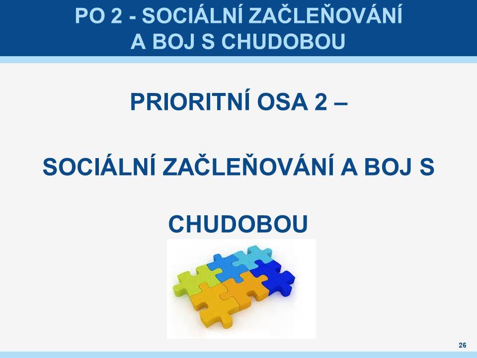 PO 2 - SOCIÁLNÍ ZAČLEŇOVÁNÍ A BOJ S CHUDOBOU PRIORITNÍ OSA 2 – SOCIÁLNÍ ZAČLEŇOVÁNÍ A BOJ S CHUDOBOU 26