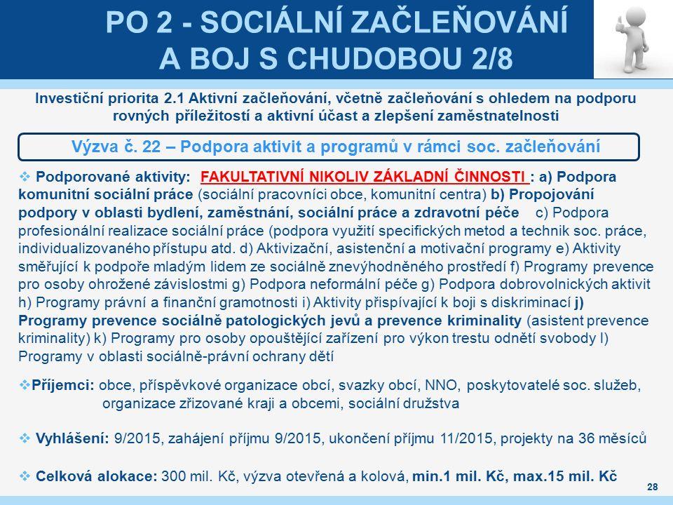 PO 2 - SOCIÁLNÍ ZAČLEŇOVÁNÍ A BOJ S CHUDOBOU 2/8 Investiční priorita 2.1 Aktivní začleňování, včetně začleňování s ohledem na podporu rovných příležit