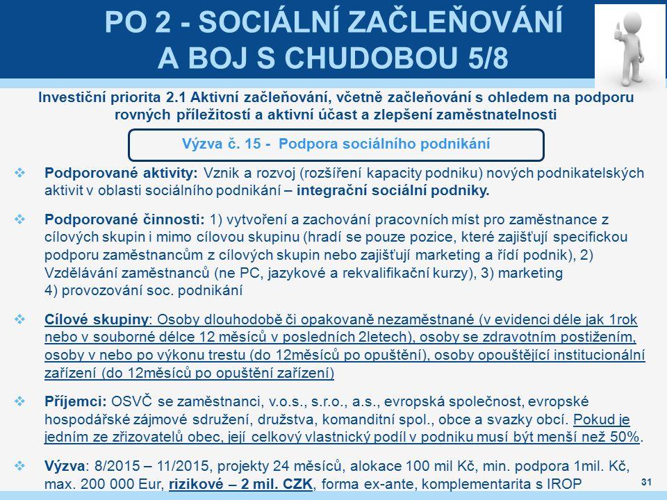 PO 2 - SOCIÁLNÍ ZAČLEŇOVÁNÍ A BOJ S CHUDOBOU 5/8 Investiční priorita 2.1 Aktivní začleňování, včetně začleňování s ohledem na podporu rovných příležit