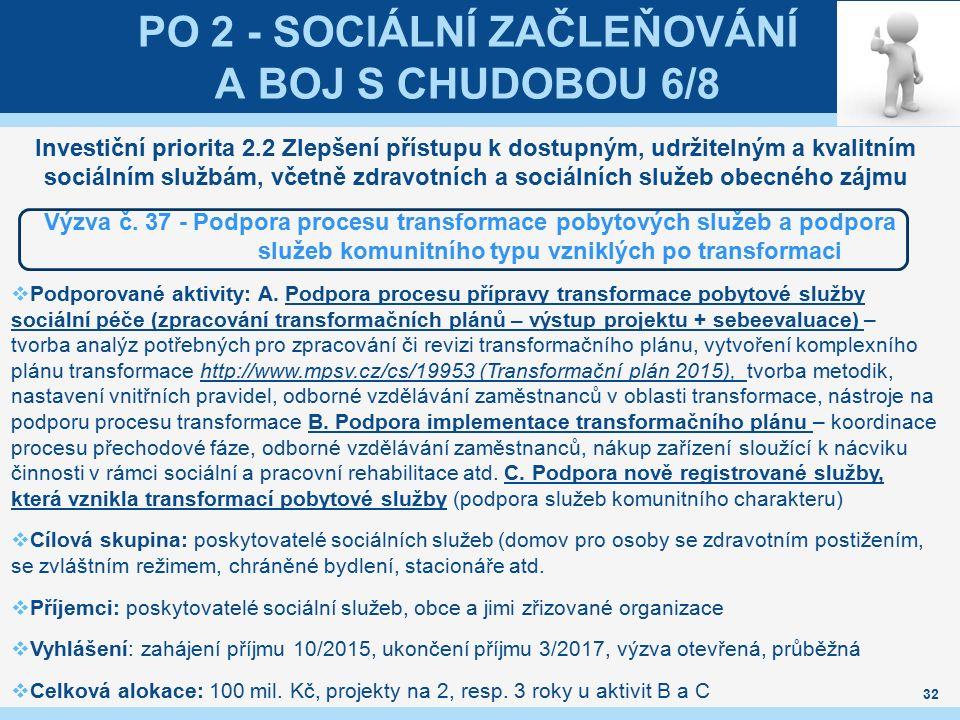 PO 2 - SOCIÁLNÍ ZAČLEŇOVÁNÍ A BOJ S CHUDOBOU 6/8 Investiční priorita 2.2 Zlepšení přístupu k dostupným, udržitelným a kvalitním sociálním službám, vče