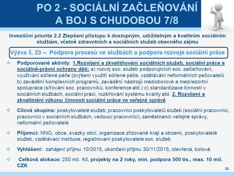 PO 2 - SOCIÁLNÍ ZAČLEŇOVÁNÍ A BOJ S CHUDOBOU 7/8 Investiční priorita 2.2 Zlepšení přístupu k dostupným, udržitelným a kvalitním sociálním službám, vče
