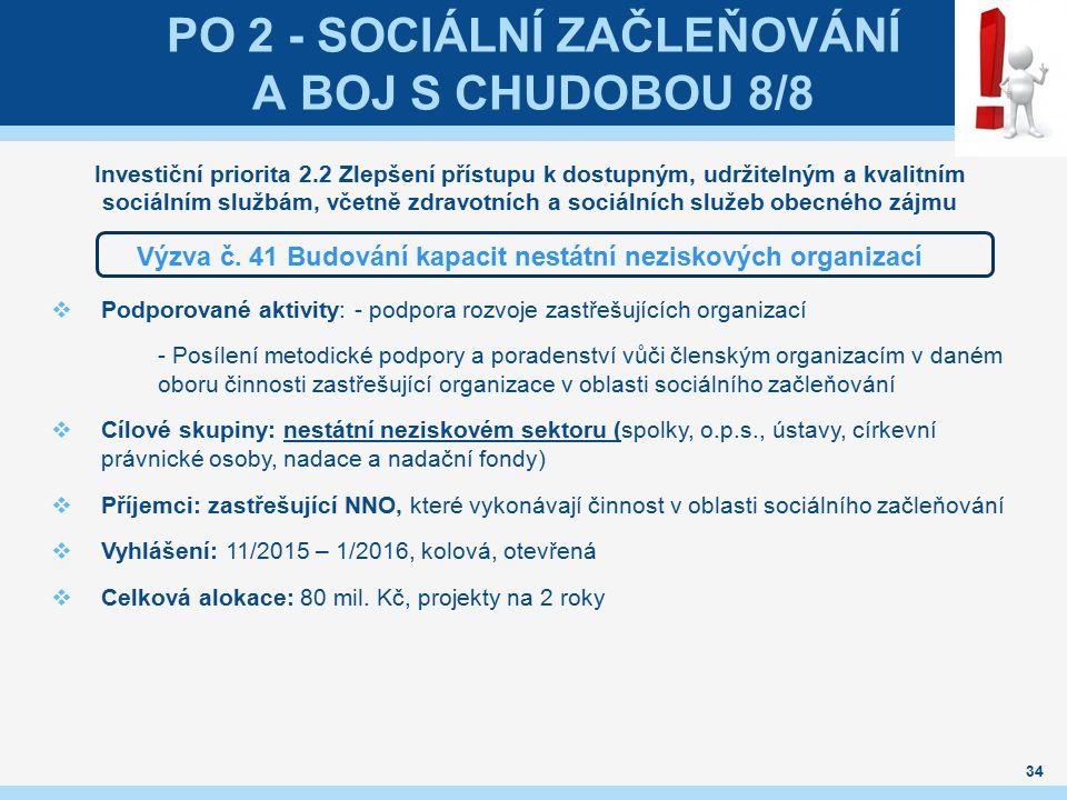 PO 2 - SOCIÁLNÍ ZAČLEŇOVÁNÍ A BOJ S CHUDOBOU 8/8 Investiční priorita 2.2 Zlepšení přístupu k dostupným, udržitelným a kvalitním sociálním službám, vče