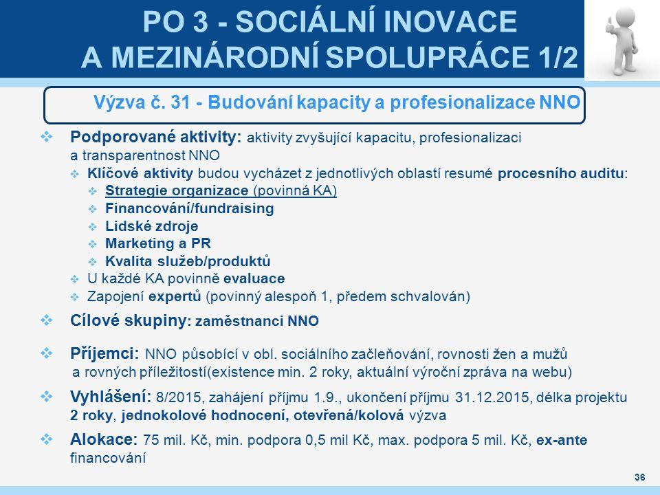 PO 3 - SOCIÁLNÍ INOVACE A MEZINÁRODNÍ SPOLUPRÁCE 1/2 Výzva č. 31 - Budování kapacity a profesionalizace NNO  Podporované aktivity: aktivity zvyšující