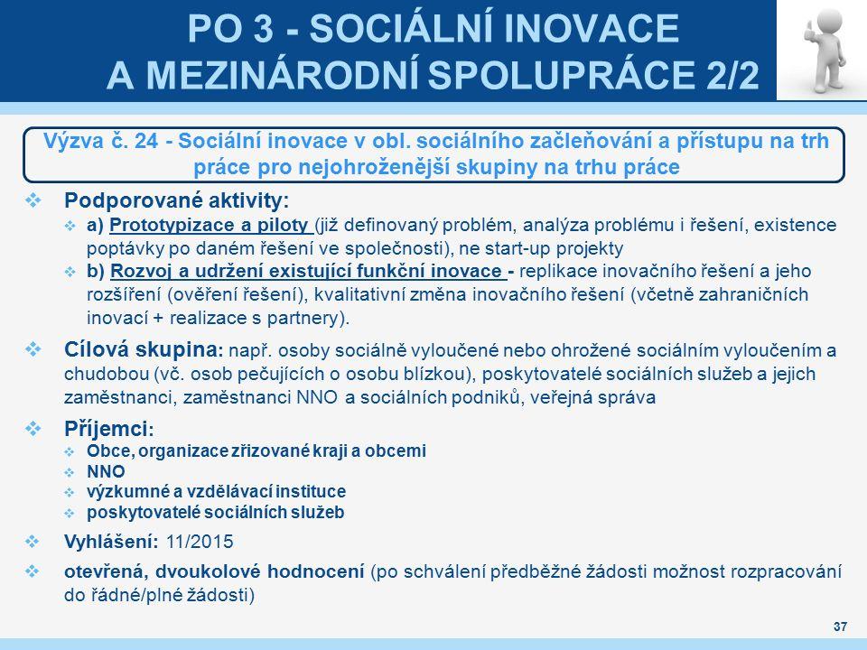 PO 3 - SOCIÁLNÍ INOVACE A MEZINÁRODNÍ SPOLUPRÁCE 2/2 Výzva č. 24 - Sociální inovace v obl. sociálního začleňování a přístupu na trh práce pro nejohrož