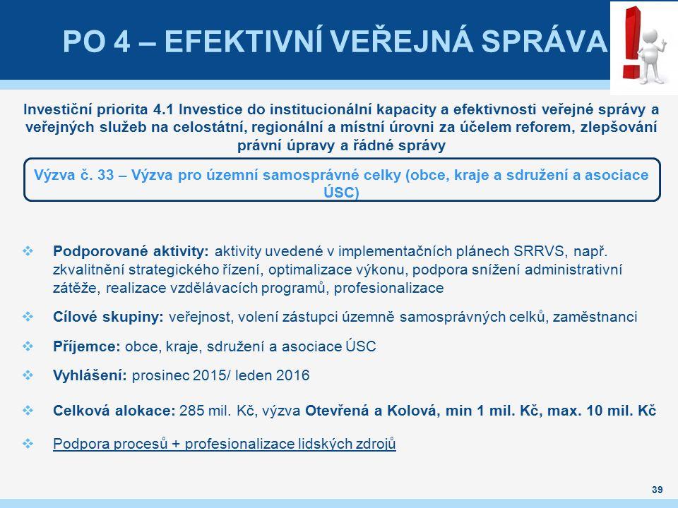 39 PO 4 – EFEKTIVNÍ VEŘEJNÁ SPRÁVA Investiční priorita 4.1 Investice do institucionální kapacity a efektivnosti veřejné správy a veřejných služeb na c